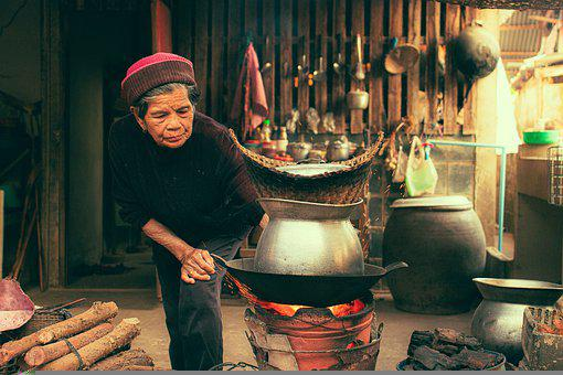 Firewood, Cooking, Grandmother, Woman, Old, Aged