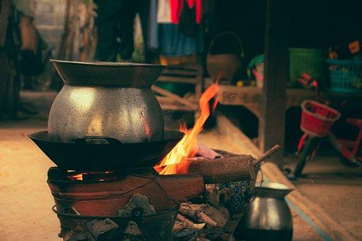 Gas Stove, Fire, Boil, Burn, Kitchen, Hot, Kettle