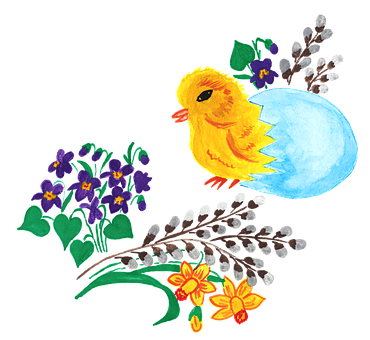 Easter, Shell, Eggs, Chicken, Chick, Violet, Violets