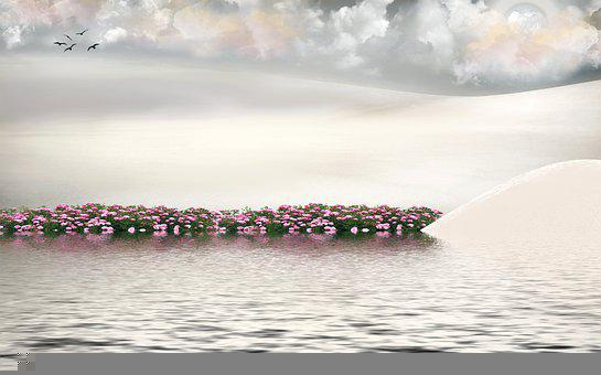 Lake, Flowers, Birds, Flock, Clouds, Water, Mountain