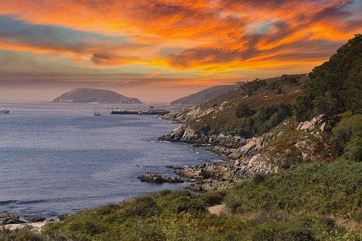 Sea, Coast, Cliff, Coastline, Island, Sunset, Sunrise