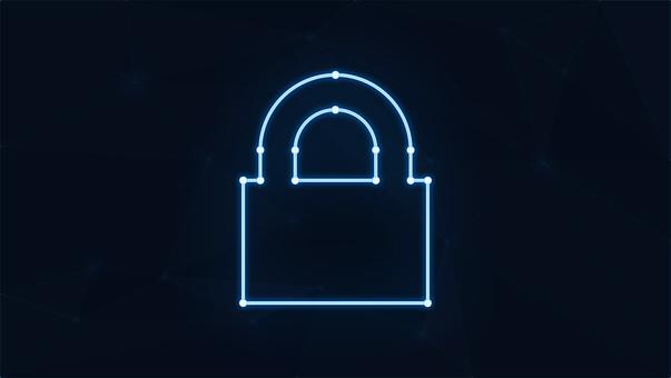 Padlock, Neon, Cybersecurity, Cyber, Security