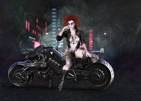 Cyberpunk, Girl, Motorcycle, Female, Future, Woman