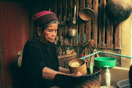 Woman, Rice, Elderly, Hands, Cook, Preparation, Granny