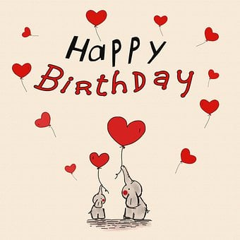 Elephant, Heart Balloons, Birthday, Greeting