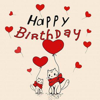 Cats, Heart Balloons, Birthday, Kitten, Greeting