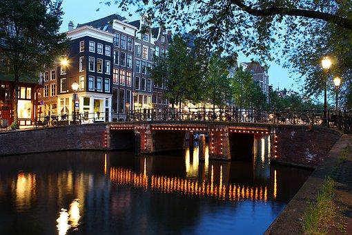 Holland, Amsterdam, Light, Night, Reflection