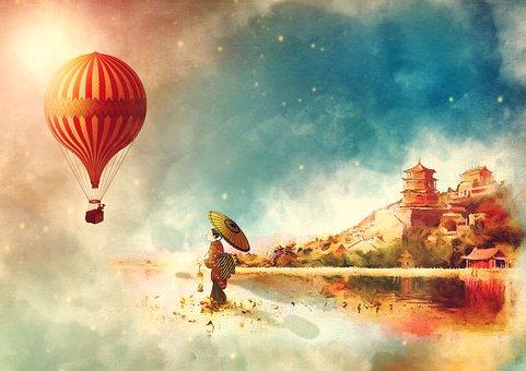 Hot Air Balloon, Summer Palace, Vintage, Asian Girl