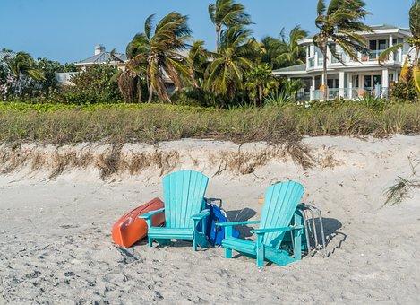 Beach, Kayak, Chairs, House, Florida, Captiva Island