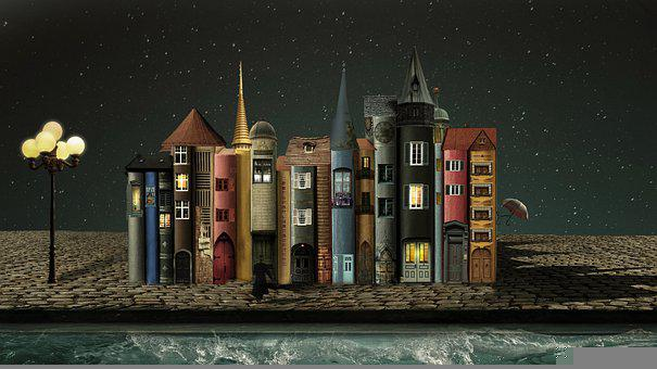 Fantasy, Books, Houses, Cobblestones