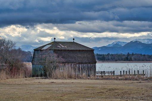 Boathouse, Bank, Lake, Reed, Grass, Dock, Jetty, Hut