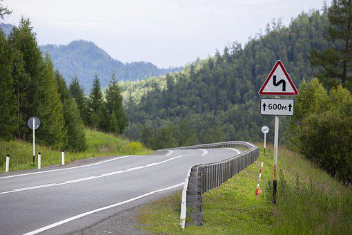Road, Sign, Highway, Forest, Journey, Altai