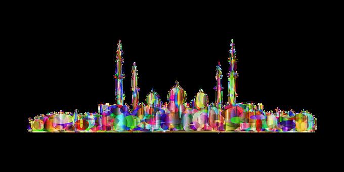 Mosque, Landscape, Circles, Ellipses, Abstract