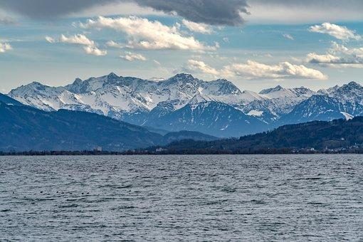Lake, Mountains, Clouds, Water, Mountain Range, Snow