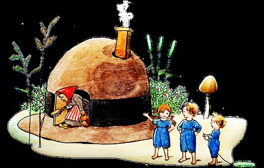 Woman, Kids, House, Children, Young, Elf, Mushroom