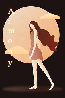 Girl, Poster, Moon, Human, Minimalist, Advertise