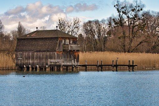Boathouse, Jetty, Lake, Fall, Autumn, Bank, Water, Reed