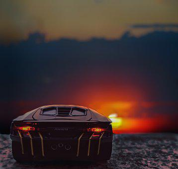 Car, Lamborghini, Vehicle, Road, Sunset, Luxury