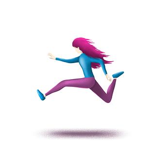 Girl, Run, Jump, Sport, Running, Person, Woman