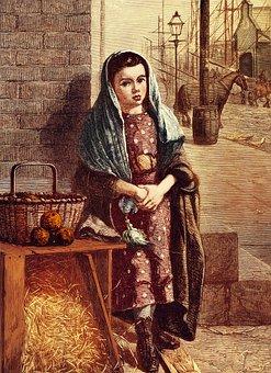 Girl, Seller, Vintage, Basket, Young, Scarf, Dress