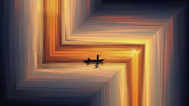 Sea, Boat, Sunset, Abstract, Fantasy, Rowing, Ocean