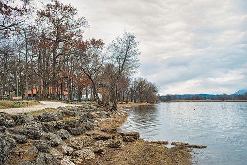 Lake, Bank, Fall, Autumn, Trees, Bench, Seat, Park