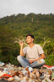 Man, Smoking, Cigarette, Young Man, Sit, Sitting, Smoke