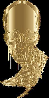 Skull, Skeleton, Death, Bones, Rose, Gold