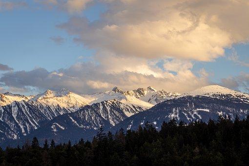 Mountains, Peak, Sunset, Sunrise, Sky, Clouds, Snow