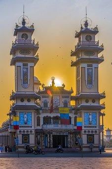 Temple, Architecture, Sunset, Sun, Sunlight, Facade