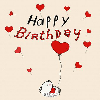 Bear, Heart Balloons, Birthday Card, Sweet, Cute