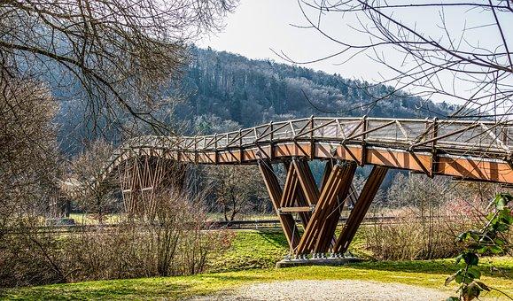 Bridge, Trees, Tatzlwurm Bridge, Wooden Bridge
