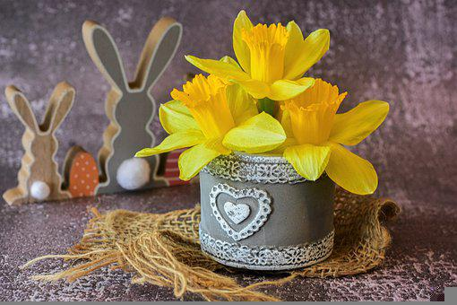 Yellow Flowers, Vase, Centerpiece, Flowers