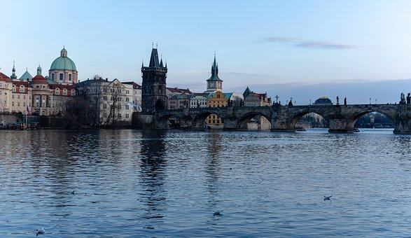Charles Bridge, River, Architecture, Panorama, Czech