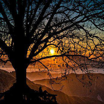 Twilight, Sunset, Mountains, Sky, Clouds, Landscape