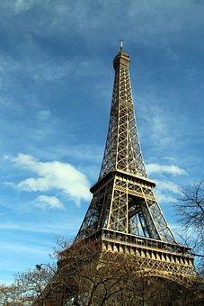 Eiffel Tower, Tower, Landmark, Sky, Clouds