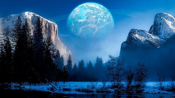 Planet, Mountains, Snow, Trees, Conifers, Coniferous