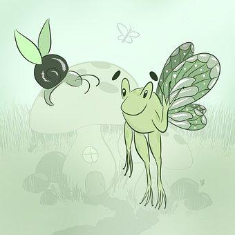 Frog, Snail, Fairy, Cottage, Rain, Seasonal, Summer