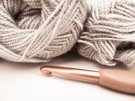 Wool, Pincushion, Grey, Beige, Hook, Knitting, Crochet