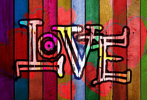 Love, Graffiti, Wood Panel, Hearts, Lettering, Font