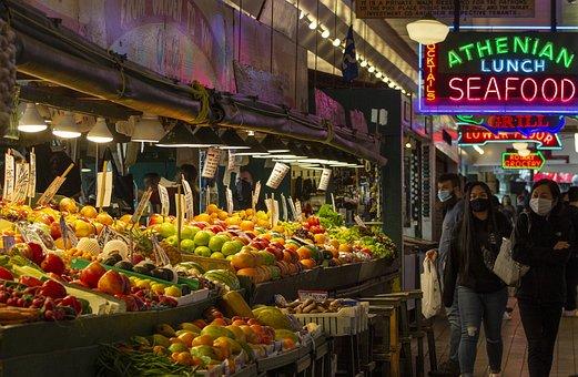 Market, Farmers Market, Pike Place, Seattle, Fruit