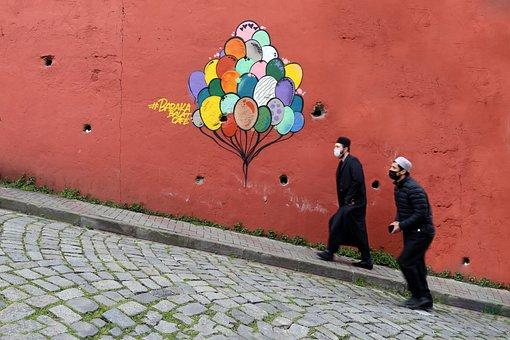 Balloon, Graffiti, Wall, Street Art, Men, People, Road