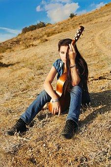 Woman, Guitar, Instrument, Brunette, Artist, Musician