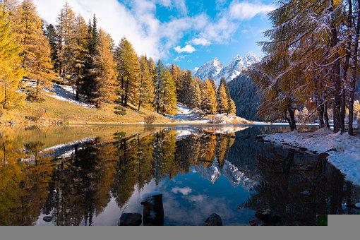 Lake, Trees, Snow, Reflection, Water, Firs, Mountains
