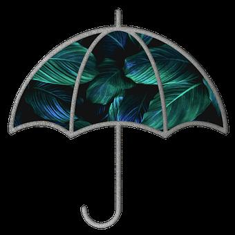 Umbrella, Leaves, Foliage, Pattern, Rain, Water, Summer