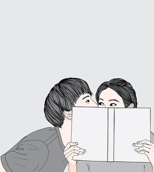 Couple, Kiss, Book, Lovers, Together, Affection