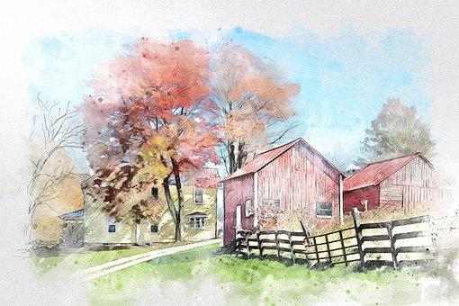 Hut, Barn, Nature, Landscape, Farm, Autumn, House