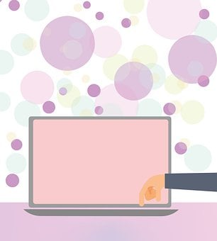 Laptop, Hand, Bubbles, Circles, Online Shopping