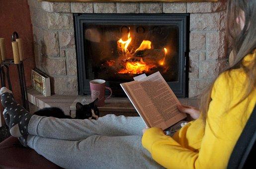 Fireplace, Fire, Read, Book, Flames, Heat, Home, Peace