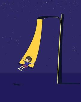 Child, Swing, Lamp Post, Night, Street Light, Lighting
